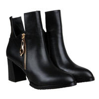 Black Block Heeled Ankle Boots with Side Zipper - Choies.com