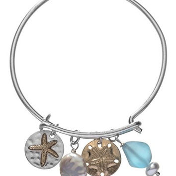 Sand Dollar Starfish Bracelet with Swarovski Crystal, Mother of Pearl, and Tumbled Sea Glass Bead