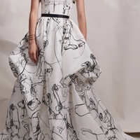 Ball Gown With Flocked Abstract Print And Flower Bustier | Moda Operandi