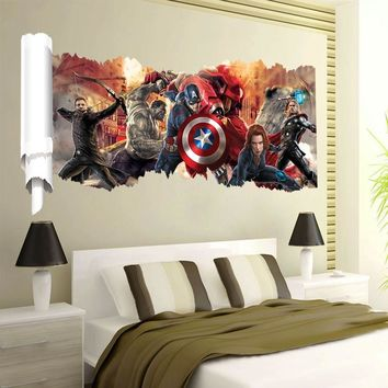 The  Captain America 3D View Wall Sticker PVC Vinyl Decal Kid Room Decor