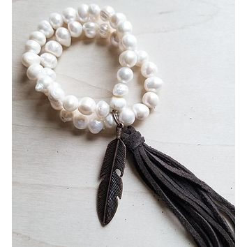 Pearl Bracelet with Copper Feather