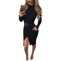 Black Front Zip Long Sleeve Midi Dress with Belt