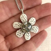 Abalone Shell Daisy Necklace, resin jewelry, nature jewelry, silver flower pendant, hammered silver charm, mother of pearl jewelry