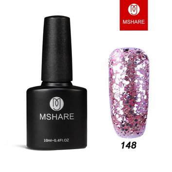 MSHARE 2017 Glitter Nail Gel Polish Bling Soak Off Starry Gel 3D Effect UV LED Gel Sequins Nail Art Blue White Lacquer Polish