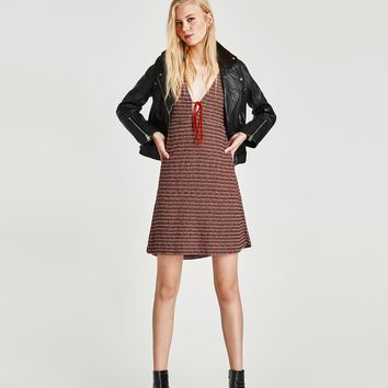 TWEED DRESS WITH CONTRASTING CORD DETAILS