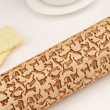 CAT- embossing rolling pin cat collar cat furniture cat necklace cat toy black cat ears black cat mask black cat necklace R028