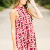 Everly Comes And Goes Red Print Swing Dress