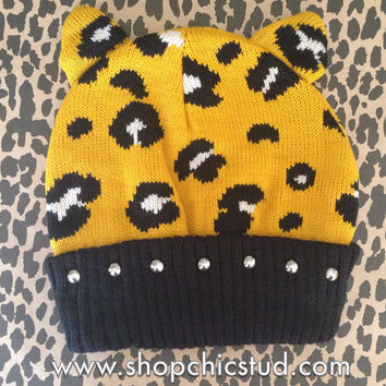 Studded Beanie - Gold Leopard Print Beanie Hat - Ear Details - Gold or Silver Studs