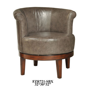Crestview Camden Grey Leather Swivel Chair