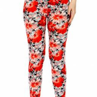 Red Rose Moss Print Leggings