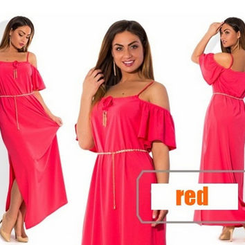 2016 New Plus Size Women Dresses Casual Solid Off Shoulder Butterfly Sleeve Long Maxi Dress Sexy Patry Dress Vestidos