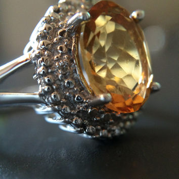 Sterling Silver Citrine Ring - Size 7