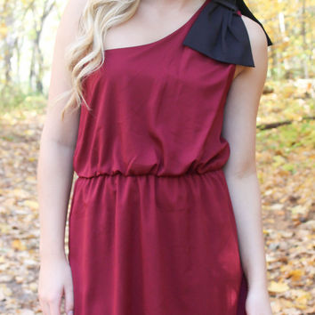 Top it off with a Bow One Shouldered Dress - Maroon and Black