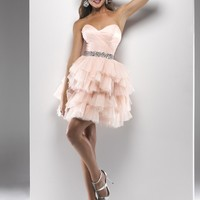 Flirt by Maggie Sottero 2013 Prom Dresses - Blush Gathered Tulle Strapless Lace Up Short Prom Dress