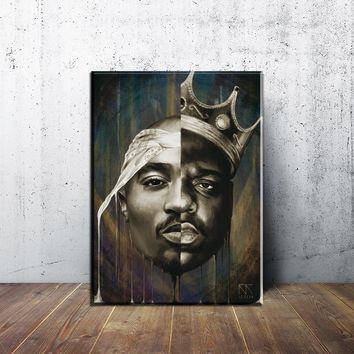 The Notorious BIG Canvas Art Print and Poster , Famous rapper singer Quote Rap Poster Prints Wall Art Decor