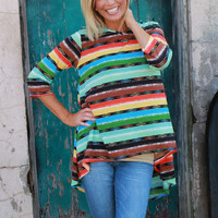 Goin' Out West Serape Print Hi-Lo Tunic ~ Mint ~ Sizes 4-12
