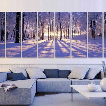 "XXLARGE 30""x 96"" 8 Panels Art Canvas Print beautiful Sunset Winter season Snow Trees Landscapes nature Wall Home decor (framed 1.5"" depth)"