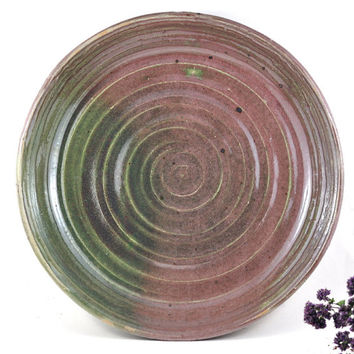 CIJ SALE Handmade Ceramic Platter Serving Plate Clay Shallow Dish Fruit Bowl Salad Bowl Green Pink Unique Pottery Home Decor