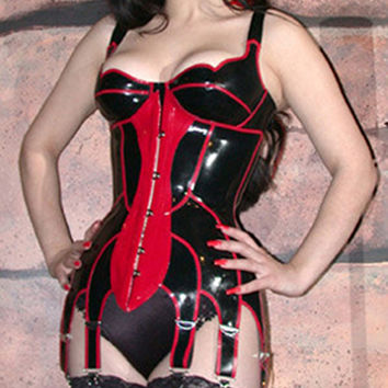 women black and red latex corset gummi 1mm natural rubber bustier sexy lingerie plus size hot sale Customize service