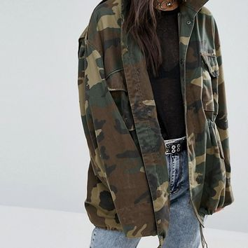 Milk It Vintage Military Jacket In Camo at asos.com