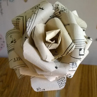 "ONE Large vintage sheet music paper flower 8"" long stem rose black and aged white/ivory single 4 inch garden tea rose Free shipping in USA"