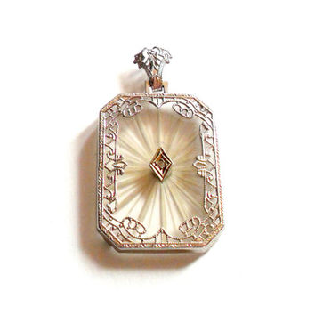 Camphor Glass Pendant 14k White Gold Diamond Center Cut Glass 1920s 1930s Art Deco Dainty Filigree Vintage Star Sun Burst 14 Karat