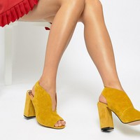 River Island suede v cut heel in yellow at asos.com