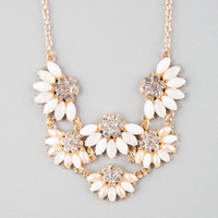 Full Tilt Scalloped Flower Statement Necklace Ivory One Size For Women 25142316001