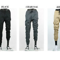 Elastic Waist Drop Crotch Jogger Pants for Men front and back pockets stretch