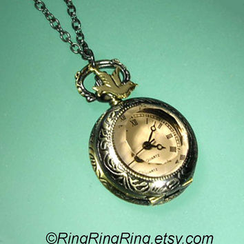 Small pocket watch necklace jewelry ROMAN by RingRingRing on Etsy