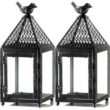 Set of 2 Small Perch Bird Lanterns