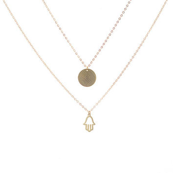 Gold Hamsa Necklace, Gold Hamsa Pendant, Gold Layer Necklace, Delicate Gold Necklace, Dainty Gold Necklace, 14k Gold Filled Chain