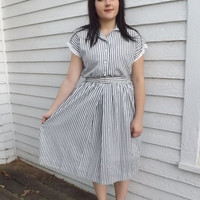 Vintage Striped Dress Casual 80s White Gray Print Shirtwaist M