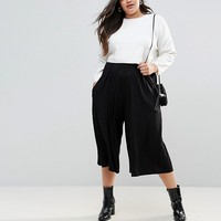 ASOS CURVE Pleated Wide Leg Culotte Trouser at asos.com