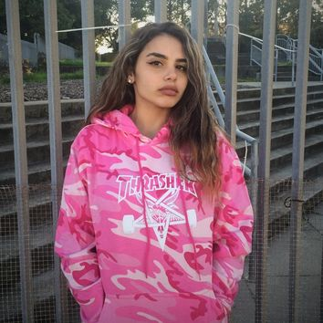 Thrasher Magazine Shop - Girls Thrasher Skategoat Hoodie Pink Camo