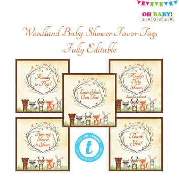 Favor Tags Template, Woodland Baby Shower, Thank You Tags, Custom Favor Tags, Favor Tags Printable, Woodland Animals, Personalized Tags WD01