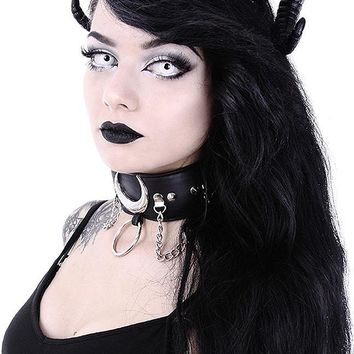 Restyle Gothic Dark Side Romance Sinister Queen Black Evil Horns Headband