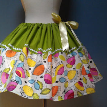 Retro Print Floral Skirt, Satin Ribbon Adjustable Waist, All Sizes, Plus Size, Full Skirt, OOAK, Ready to Ship