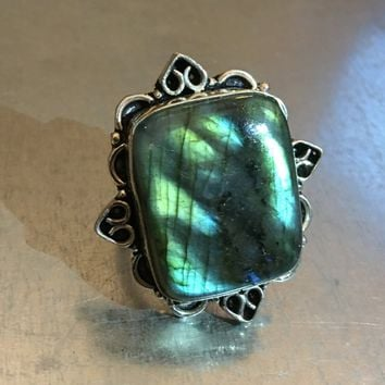 Labradorite Ring, Gemstone Ring, Labradorite Jewelry, Labradorite Stone, Stone Ring, Flash Labradorite, Boho Ring, Bohemian Ring