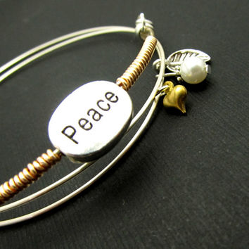 Sterling Silver Bracelet, Adjustable Bangle, Peace Charm Bracelet, Sterling Silver, LoVE Friendship Bridesmaid, Mother, Stacking Bangles