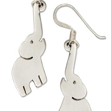 STERLING SILVER ELEPHANT EARRINGS WITH REACHING TRUNK ON FRENCH WIRES