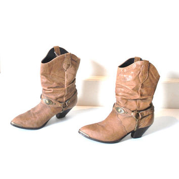 size 7 slouchy WESTERN harness boots / vintage 1980s BOHO tan pointy ROCKER concho cowboy boots