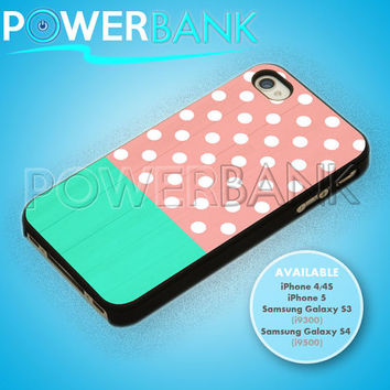 pink mint with white polkadot - iPhone 4/4s/5 Case - Samsung Galaxy S3/S4 Case - Black or White