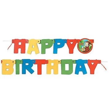 4ft Curious George Birthday Banner