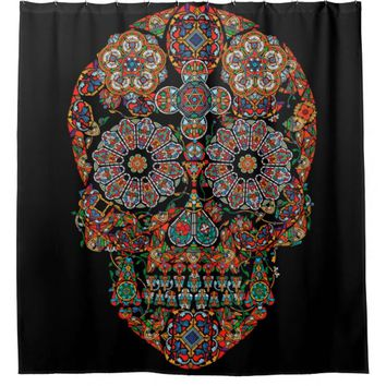 Flower Sugar Skull Shower Curtain