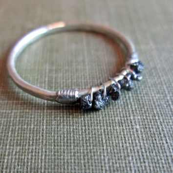 Black Uncut Diamond Ring  //  Sterling Silver Rough Diamond Ring // Raw Diamond Stacking Ring // Rough Gemstone Ring // Thin Diamond Ring
