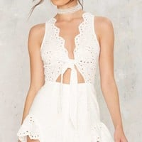 Eyelet You Go Scalloped Romper