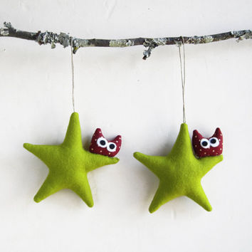 Christmas ornament Two green stars with owl Felt by Intres on Etsy