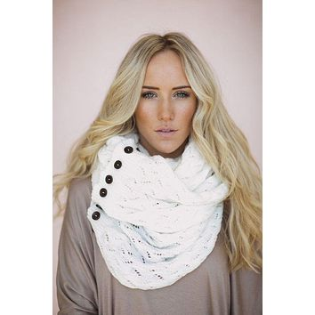Boho Buttons Infinity Scarf White Chunky Soft Multiple Wood Button Winter Eternity Scarves