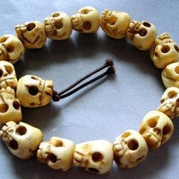 Ox Bone Carved Skull Beads Tibet Buddhist Prayer Bracelet Mala